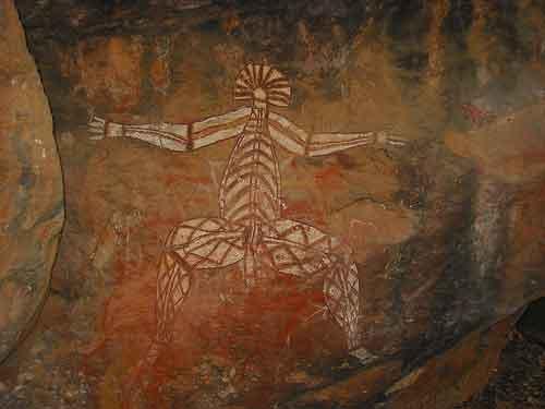 Pintura aborigen australiana, Nourlangie, Kakadu National Park (Foto: Paul Mannix/Creative Commons).