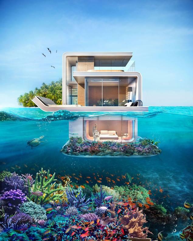 مشروع دبي القادم .. منازل عائمة طابقها السفلي تحت الماء بدون ستائر 1