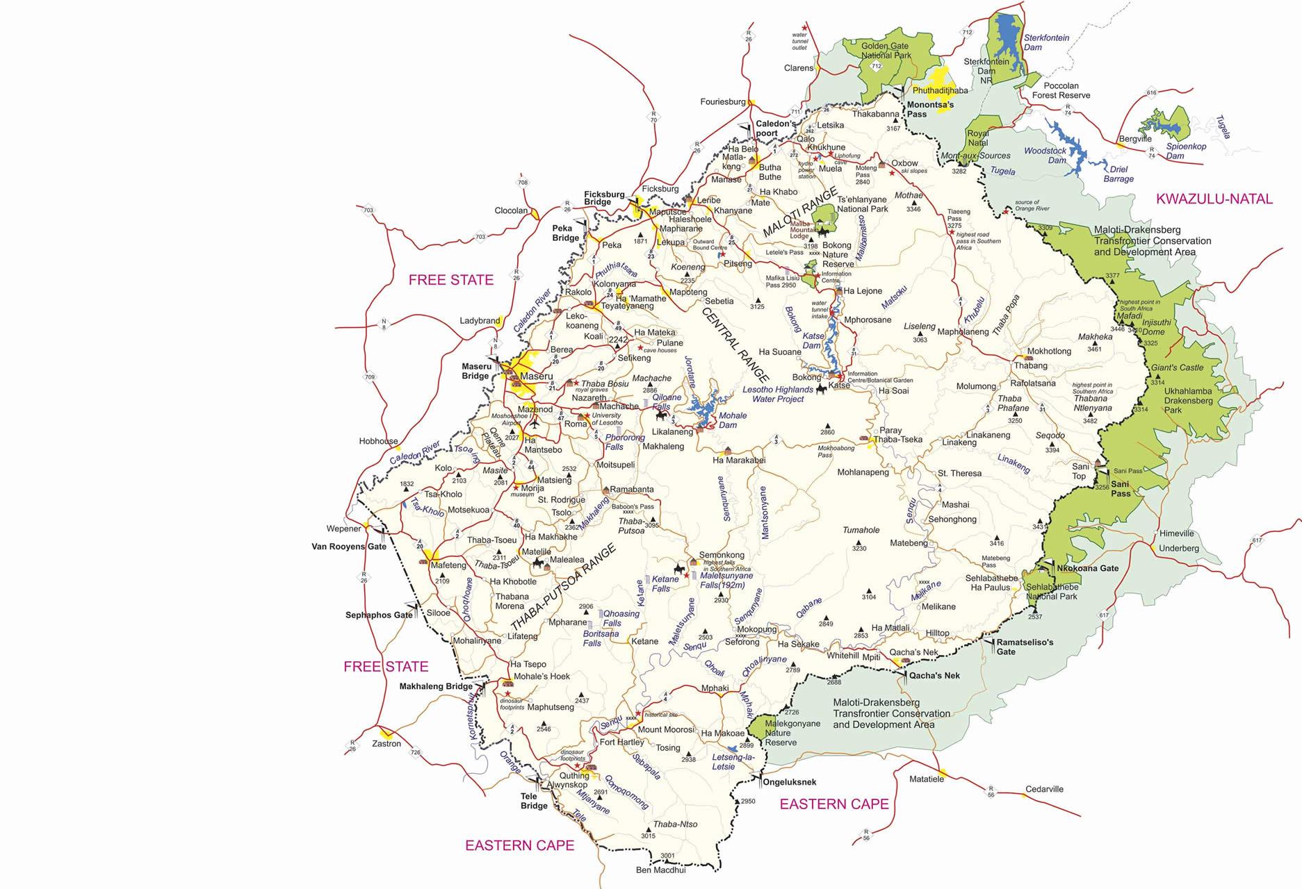 Lesotho map large