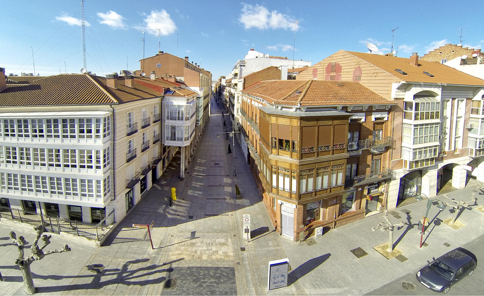 Calle Mayor, Palencia, dron