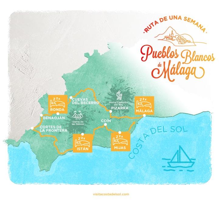 Infografía de ruta de una semana por los pueblos blancos de Málaga