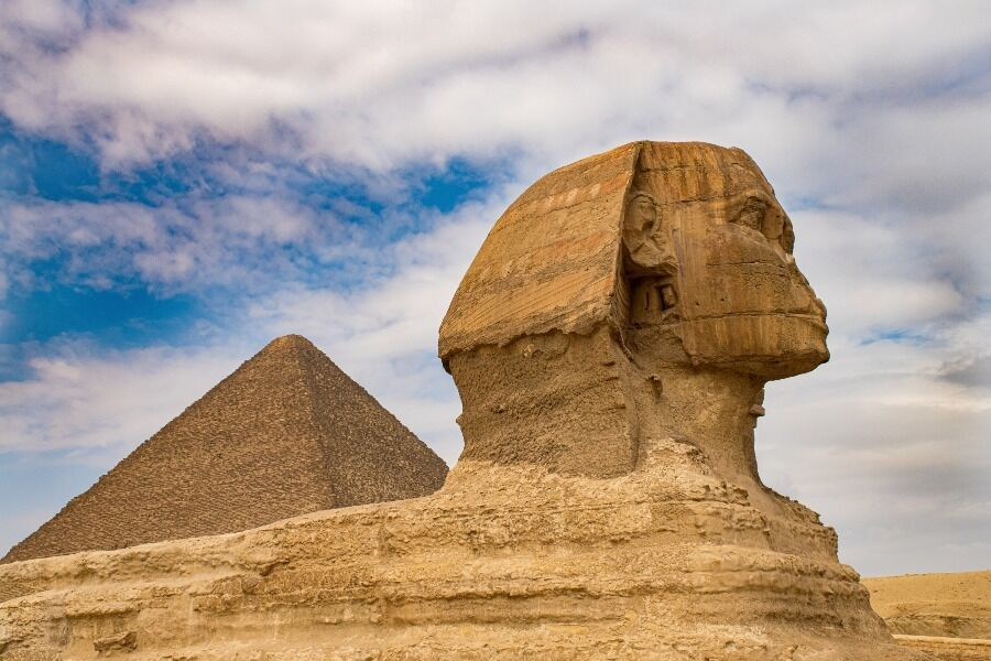 Primer plano pirámide de Egipto